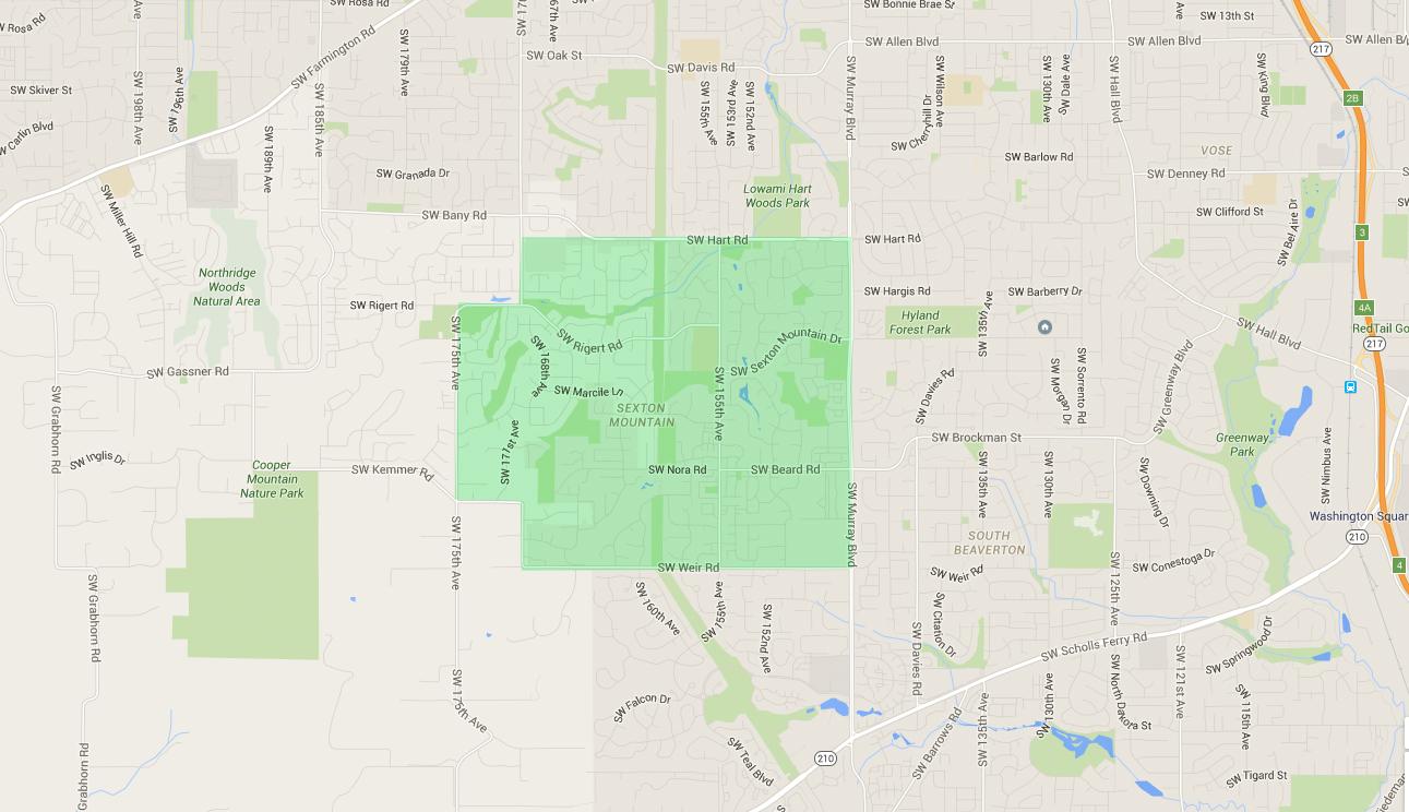 map of houses in sexton mountain beaverton neighborhood