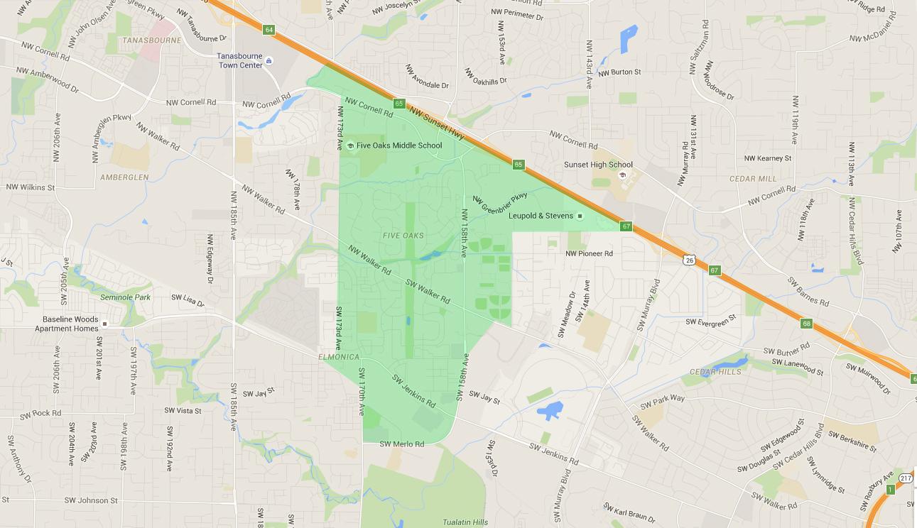 map of houses in five oaks beaverton neighborhood