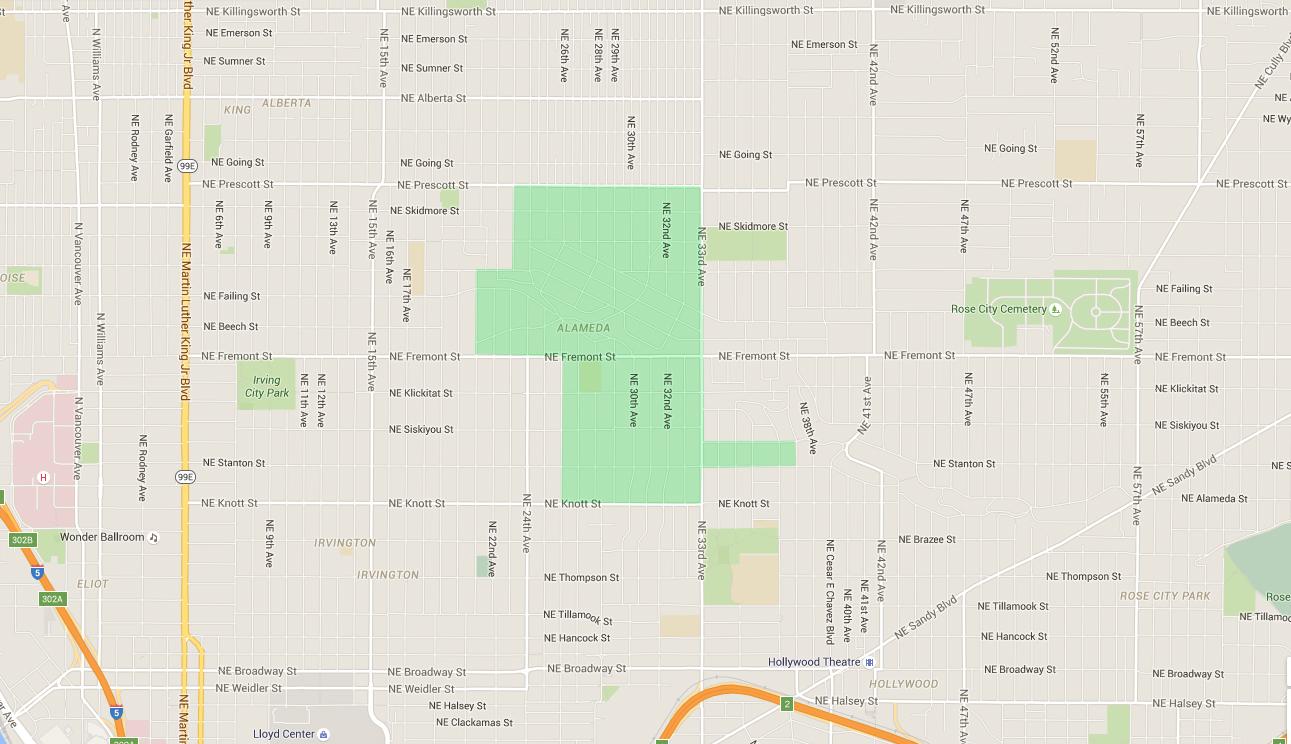 map of houses in alameda, an east portland neighborhood