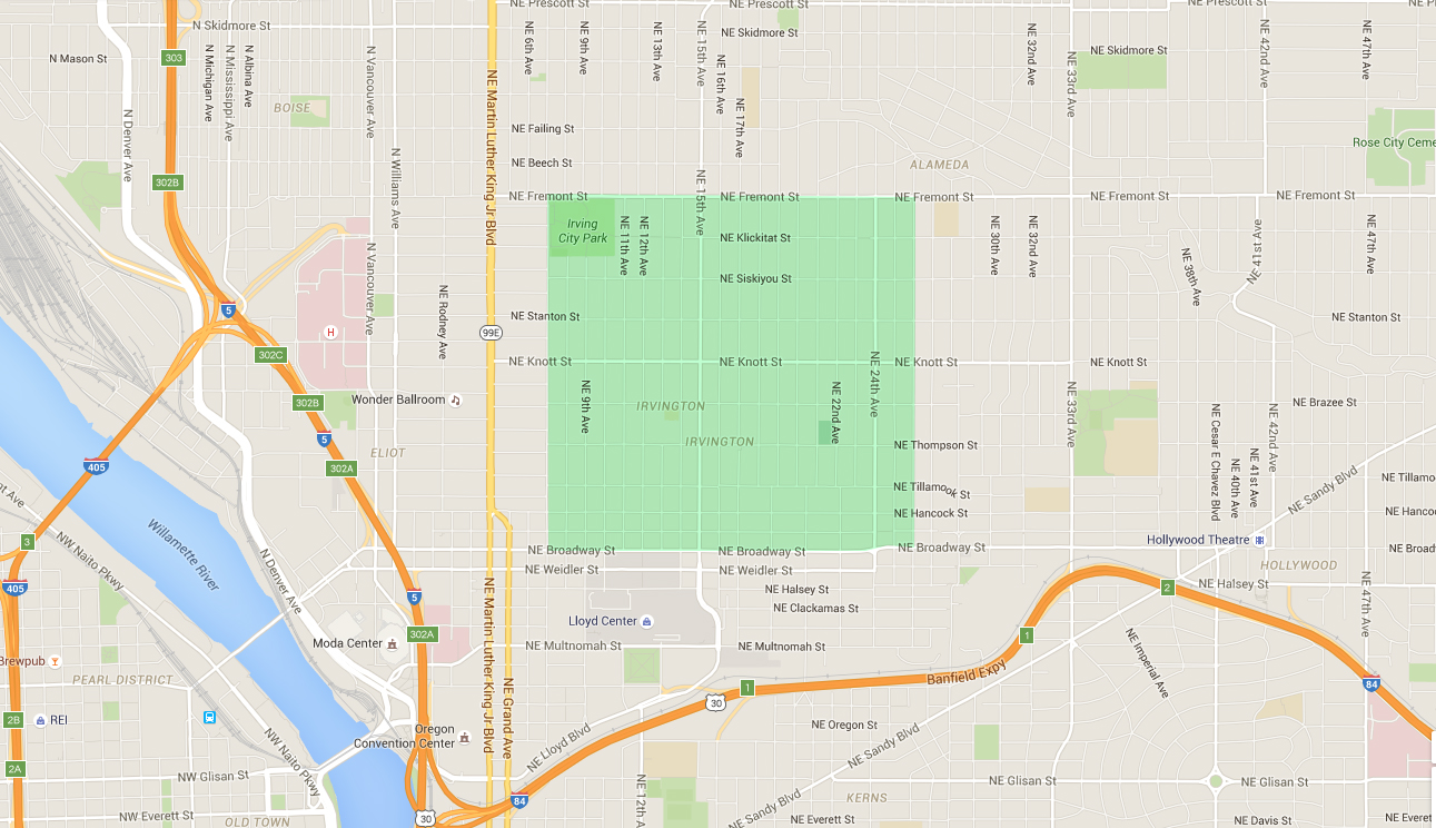 map of houses in irvington, an east portland neighborhood