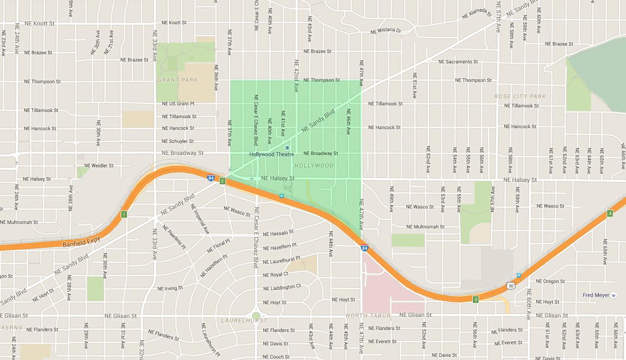 map of houses in hollywood, an east portland neighborhood