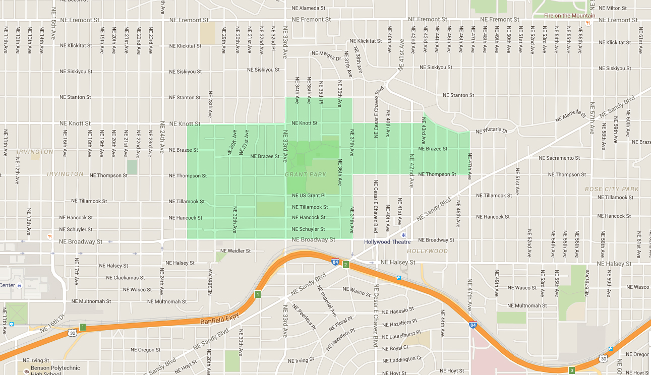map of houses in grant park, an east portland neighborhood