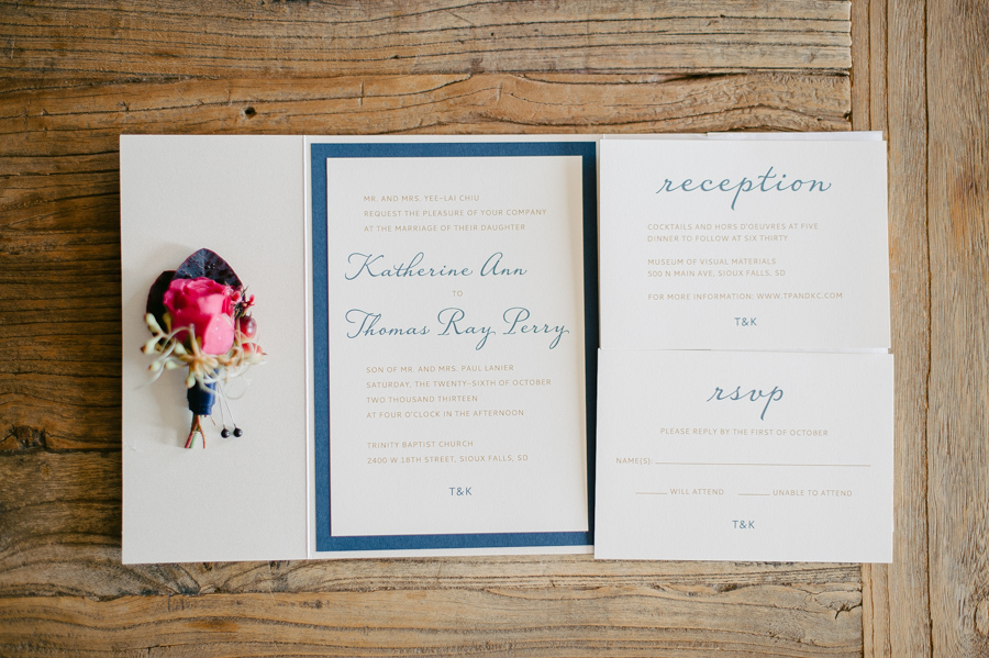 Wedding invitation with flower - Jeff Sampson Photography