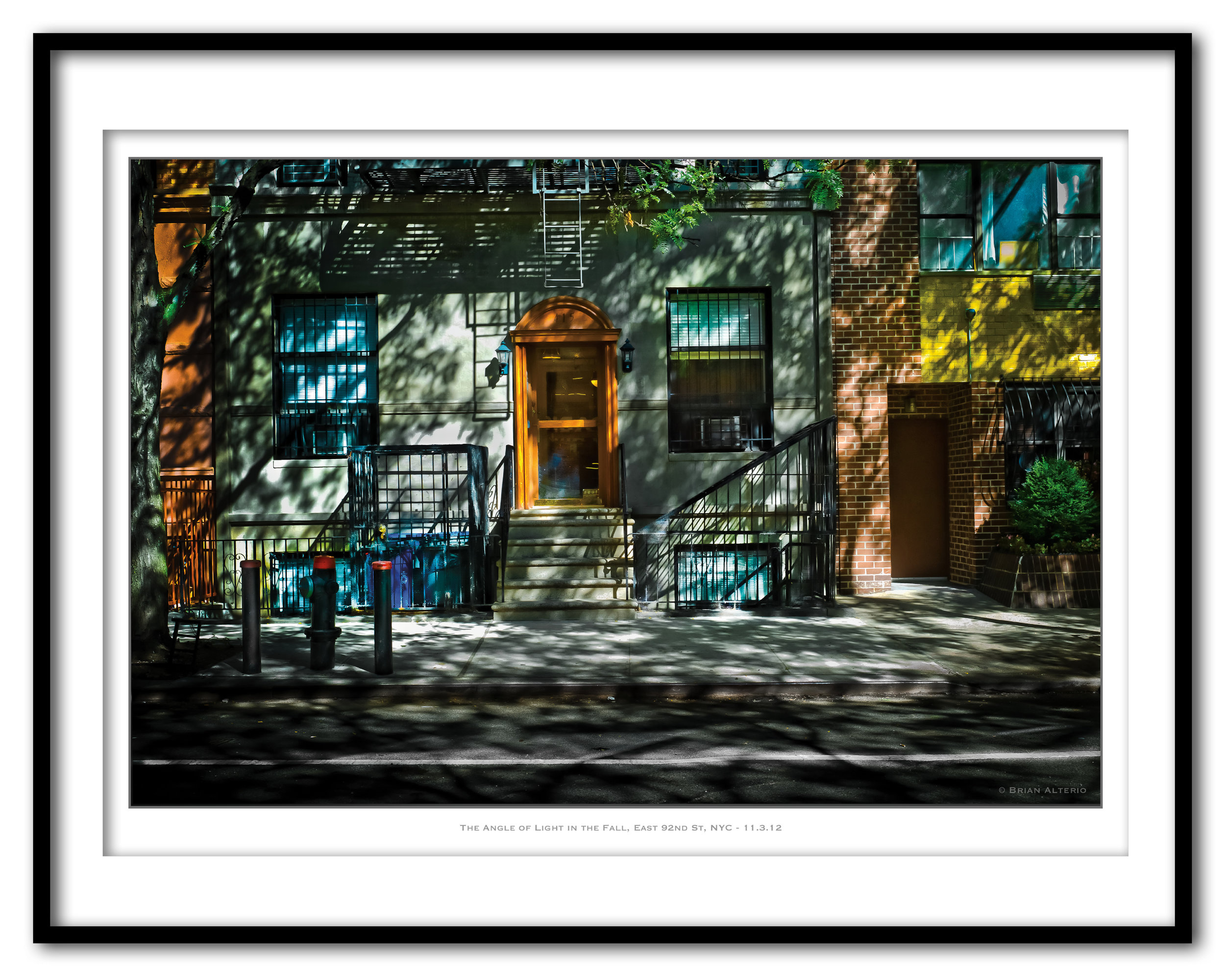 The Angle of Light in the Fall, East 92nd St, NYC - 11.3.12 - Framed.jpg