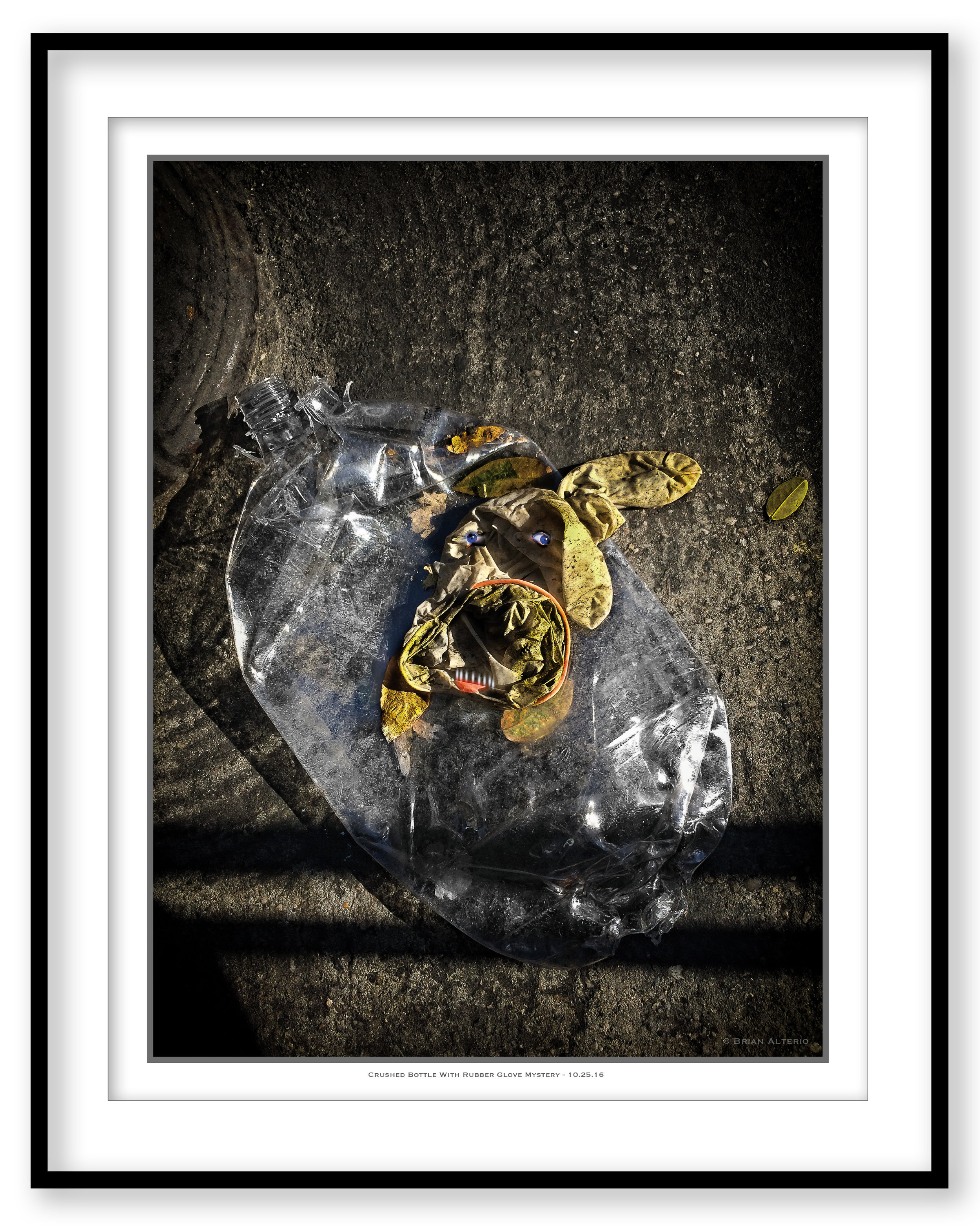 Crushed Bottle With Rubber Glove Mystery - 10.25.16 - Framed.jpg