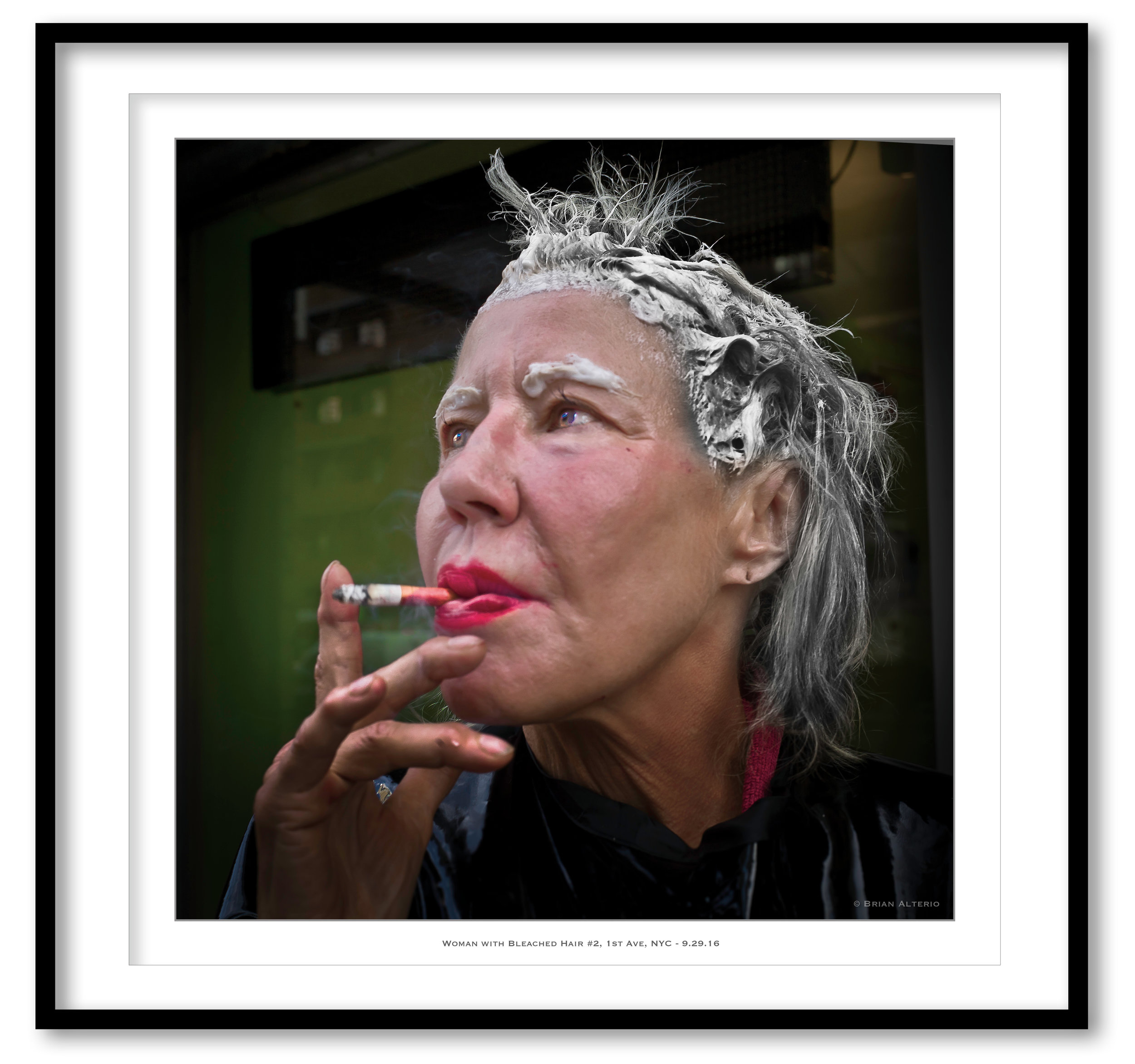 Woman with Bleached Hair #2, 1st Ave, NYC - 9.29.16 - Framed  - Framed.jpg