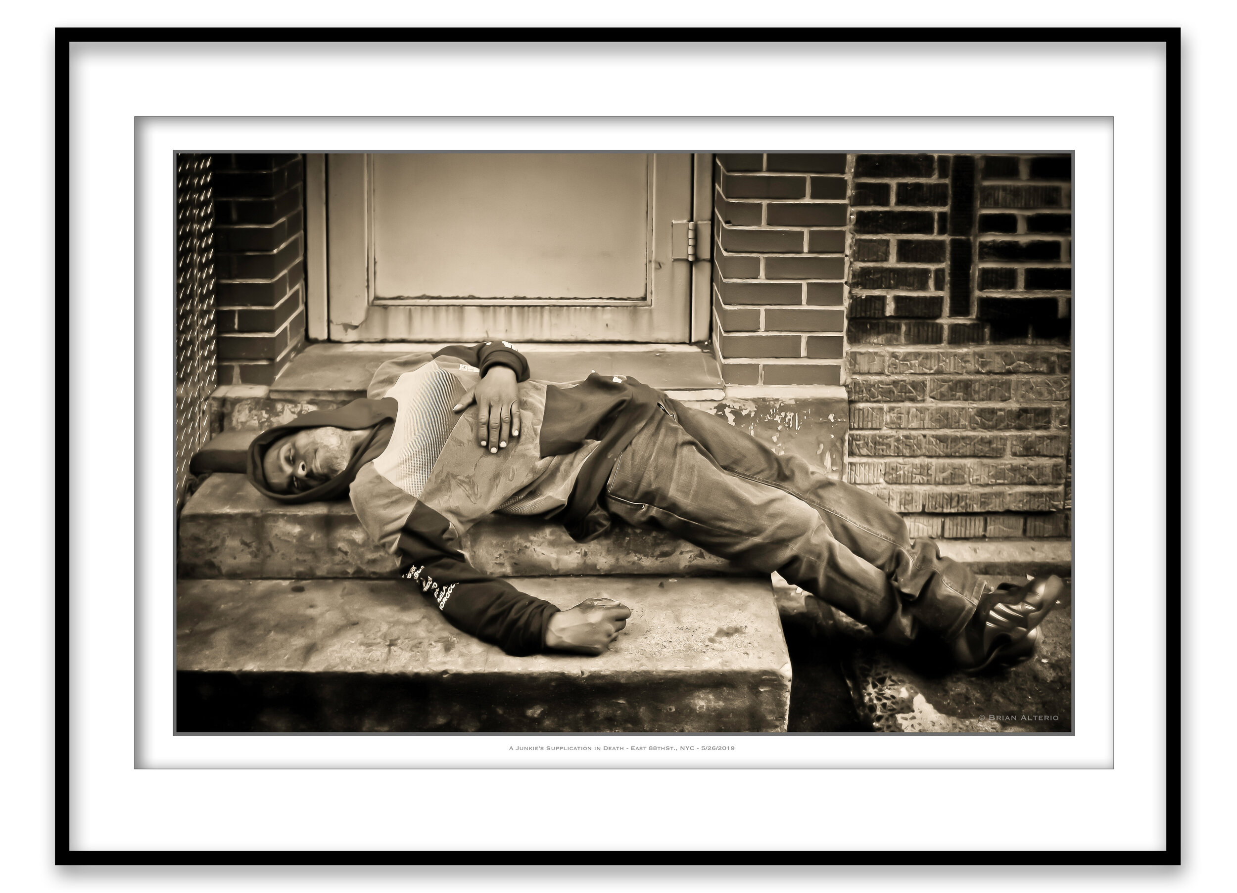 A Junkie's Supplication In Death - East 88thSt., NYC - 5-26-19 Framed.jpg