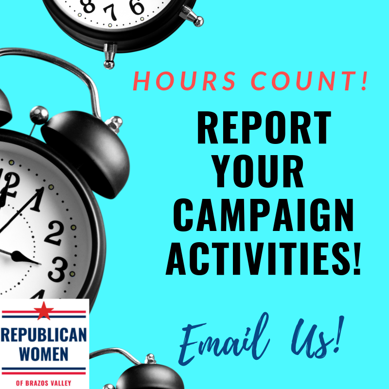 Hours Count! - Report your hours! Please send your hours to: RepublicanWomenBV@gmail.comWant to volunteer? Email: RepublicanWomenBV@gmail.com