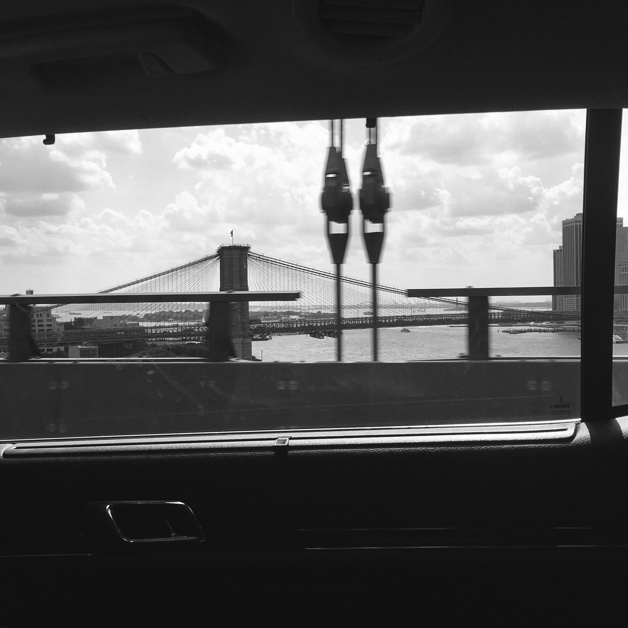 Cab riding over the manhattan bridge