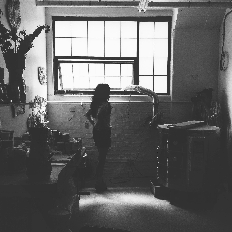 Behind the scenes shot of me photographing Jennie Jiun Lee in her studio in the Brooklyn Navy Yard