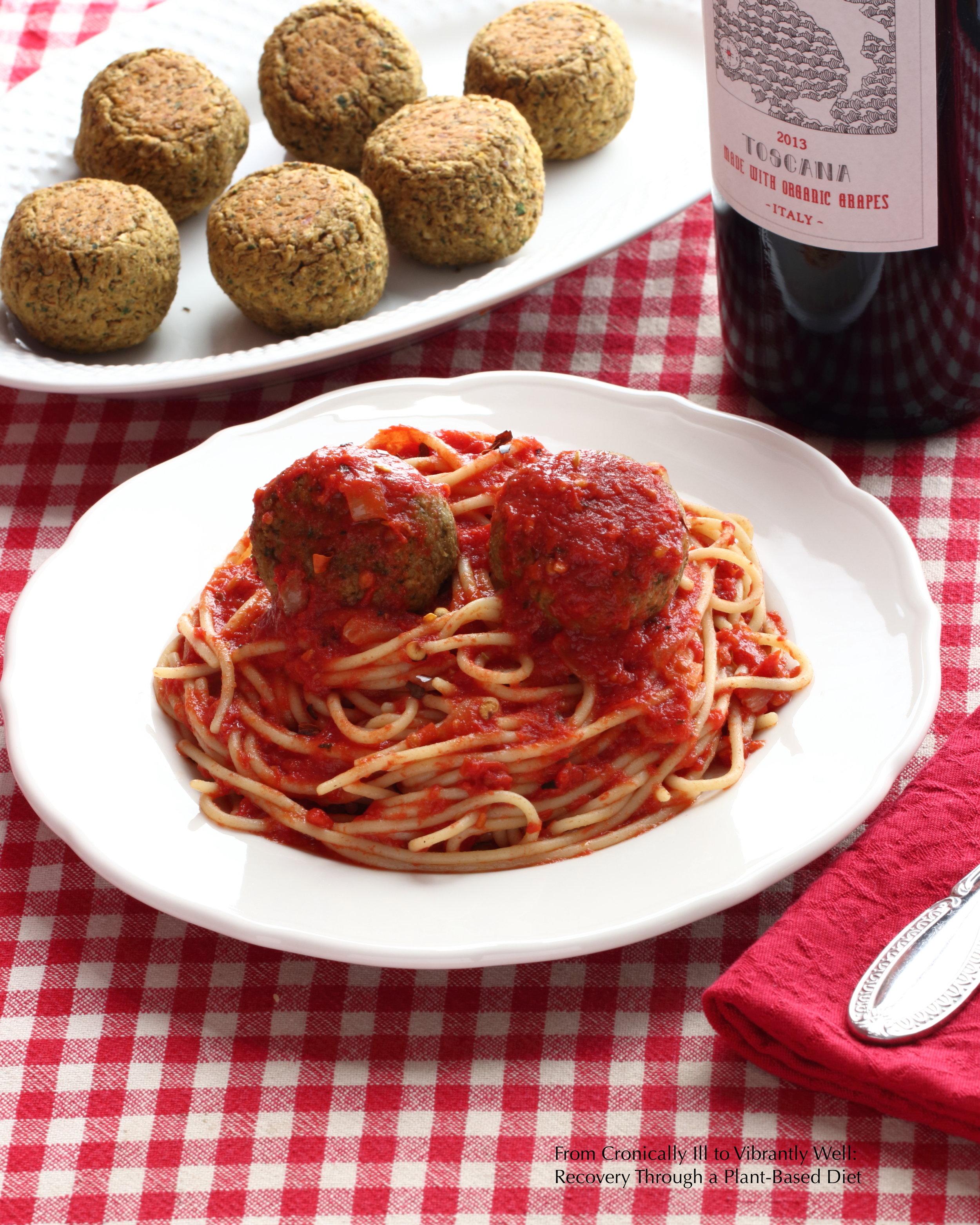 Lentil Balls and Marinara Sauce over rice pasta.