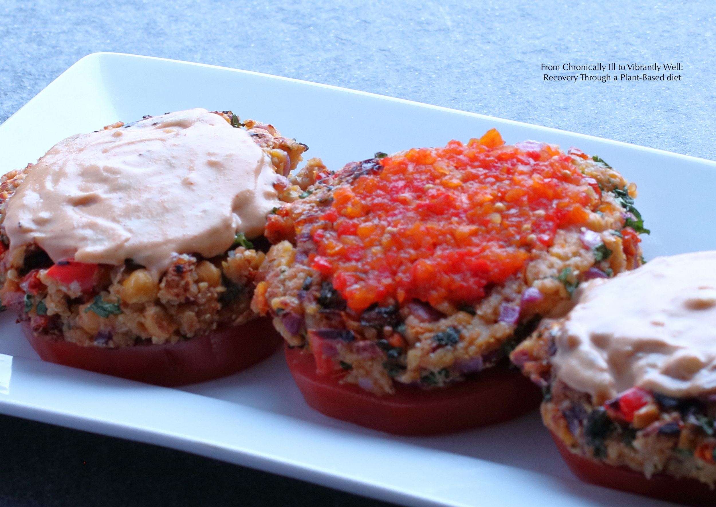 Quinoa Garbanzo Burgers with Spicy Peanut Dressing and Sweet Pepper Relish