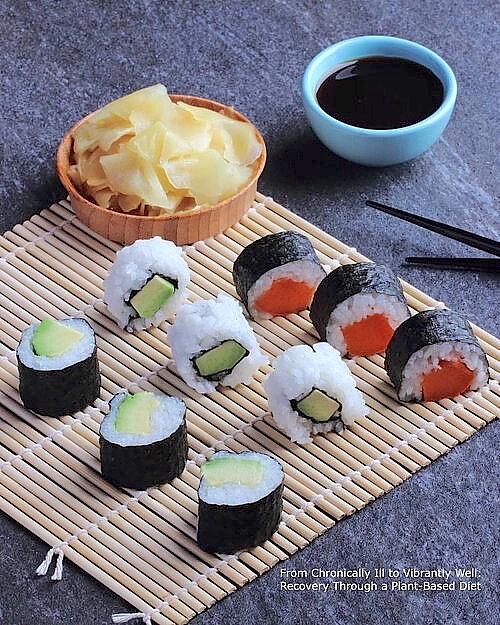 Avocado Sushi and Sweet Potato Sushi