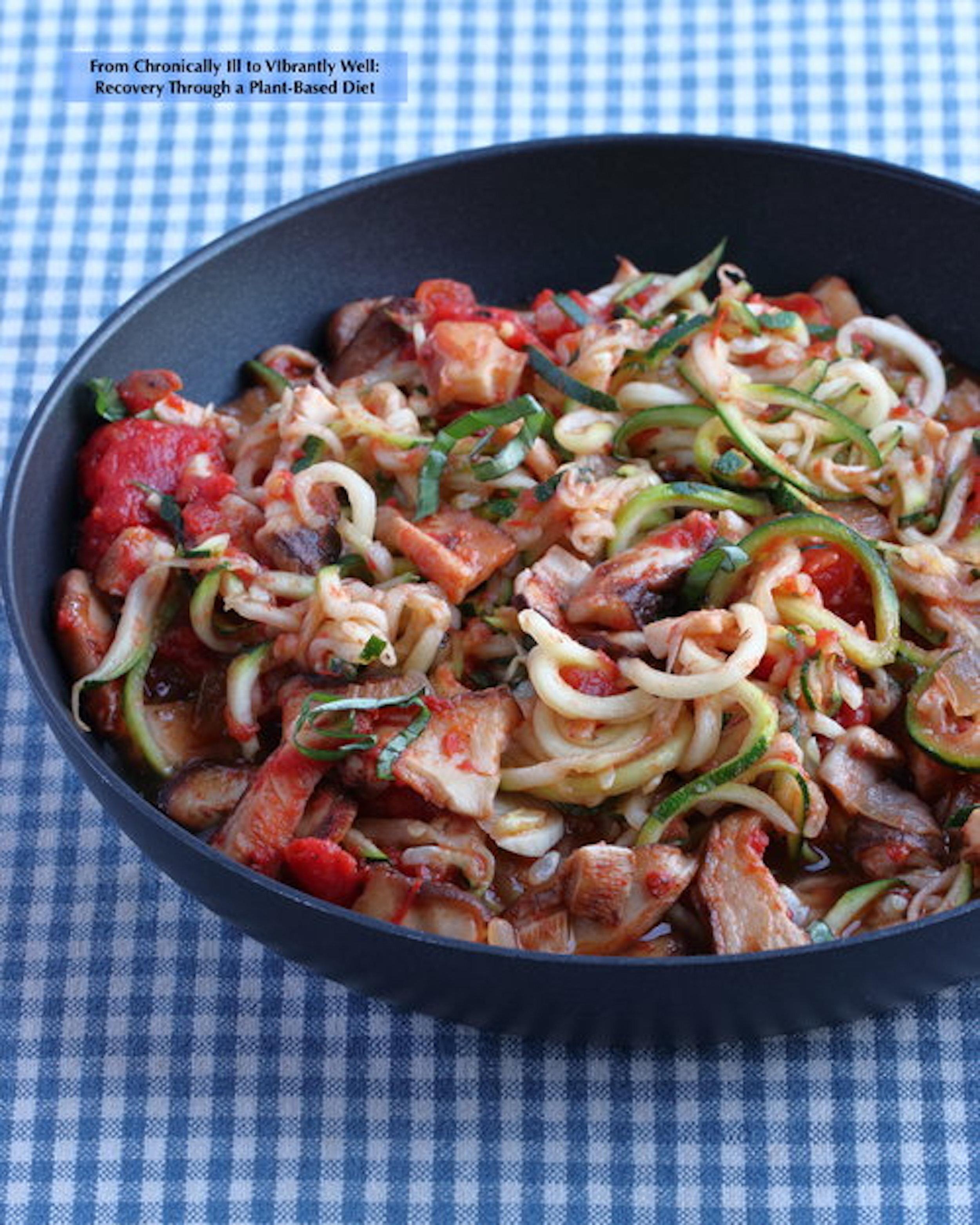 Zoodles with Mushroom Marinara Sauce