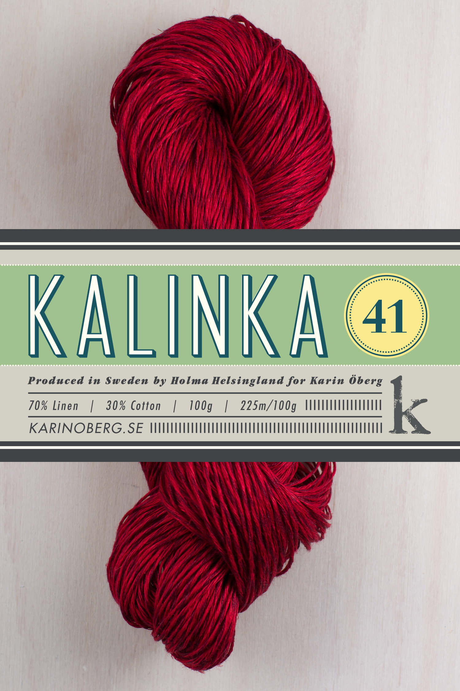 Kalinka 41, 70% linen 30% cotton   (click picture for more colors)    In 2013 I launched Kalinka 41, a linen and cotton mix especially created for hand knitting.    Yarn facts  225sts/100g, gauge approx. 20sts/10cm on 3,5mm needles    Washing instructions  Machine wash cold or hand wash with normal cycle.