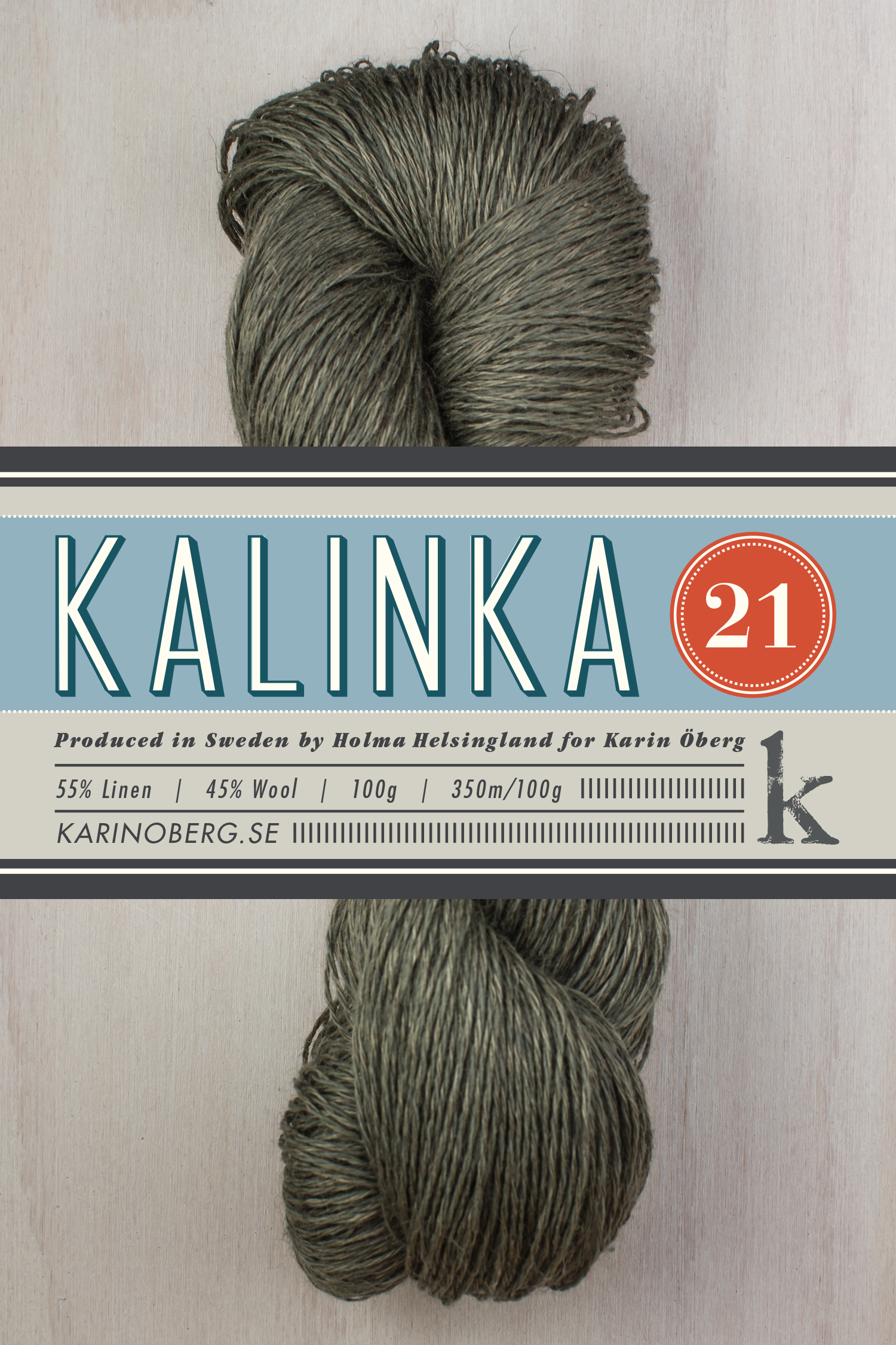 Kalinka 21, 55% linen 45% wool (  click picture for more colors)    In 2015 I added another yarn quality to my selection, Kalinka 21. The yarn consists of 55% linen and 45% lambs wool.     Yarn facts  350sts/100g, gauge approx. 26sts/10cm on 3mm needles   Washing instructions  Hand wash or machine wash cold with gentle cycle. Line dry.