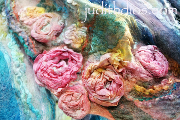 Coral & Magenta Roses on Royal Blue