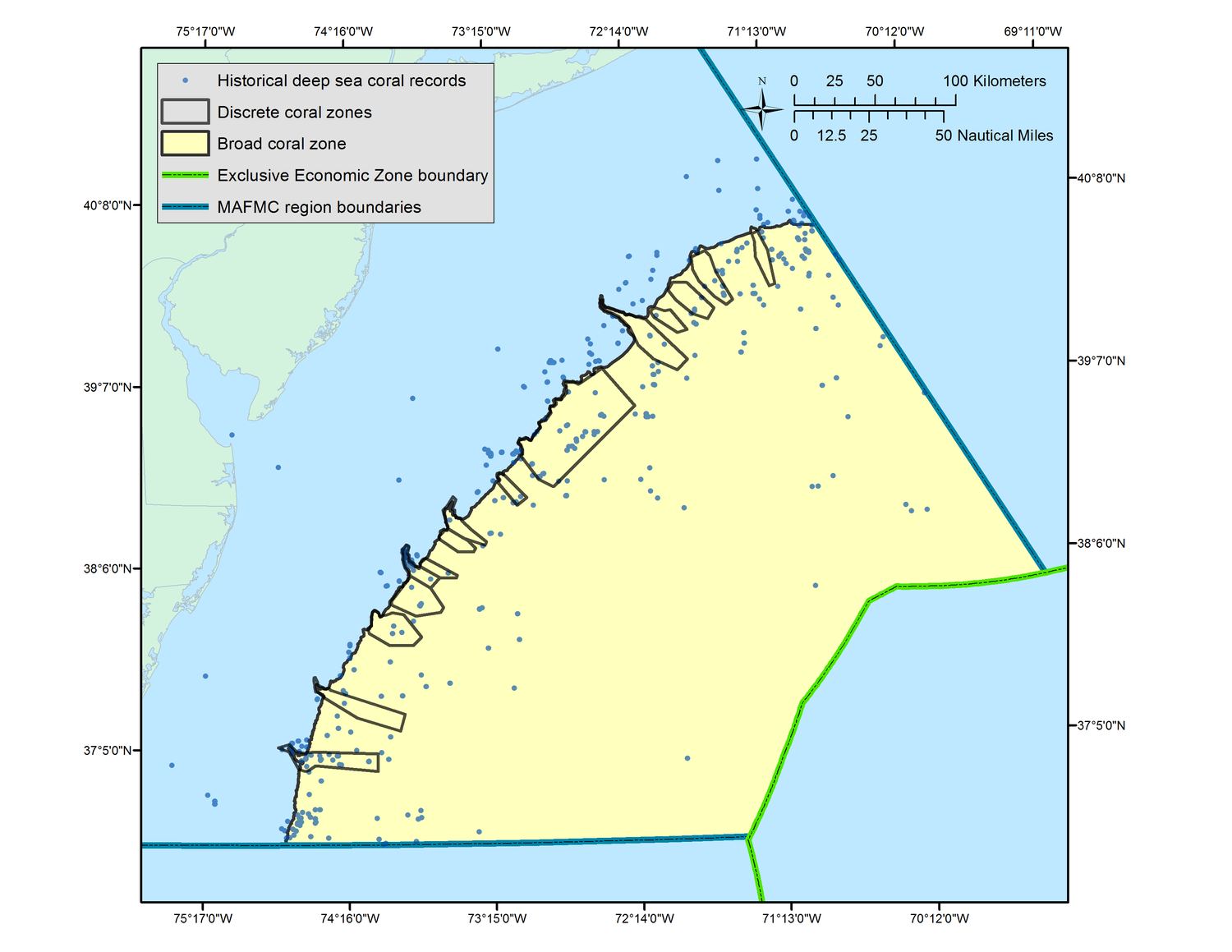 Map: Approximation of Deep Sea Coral Zones (click to enlarge).