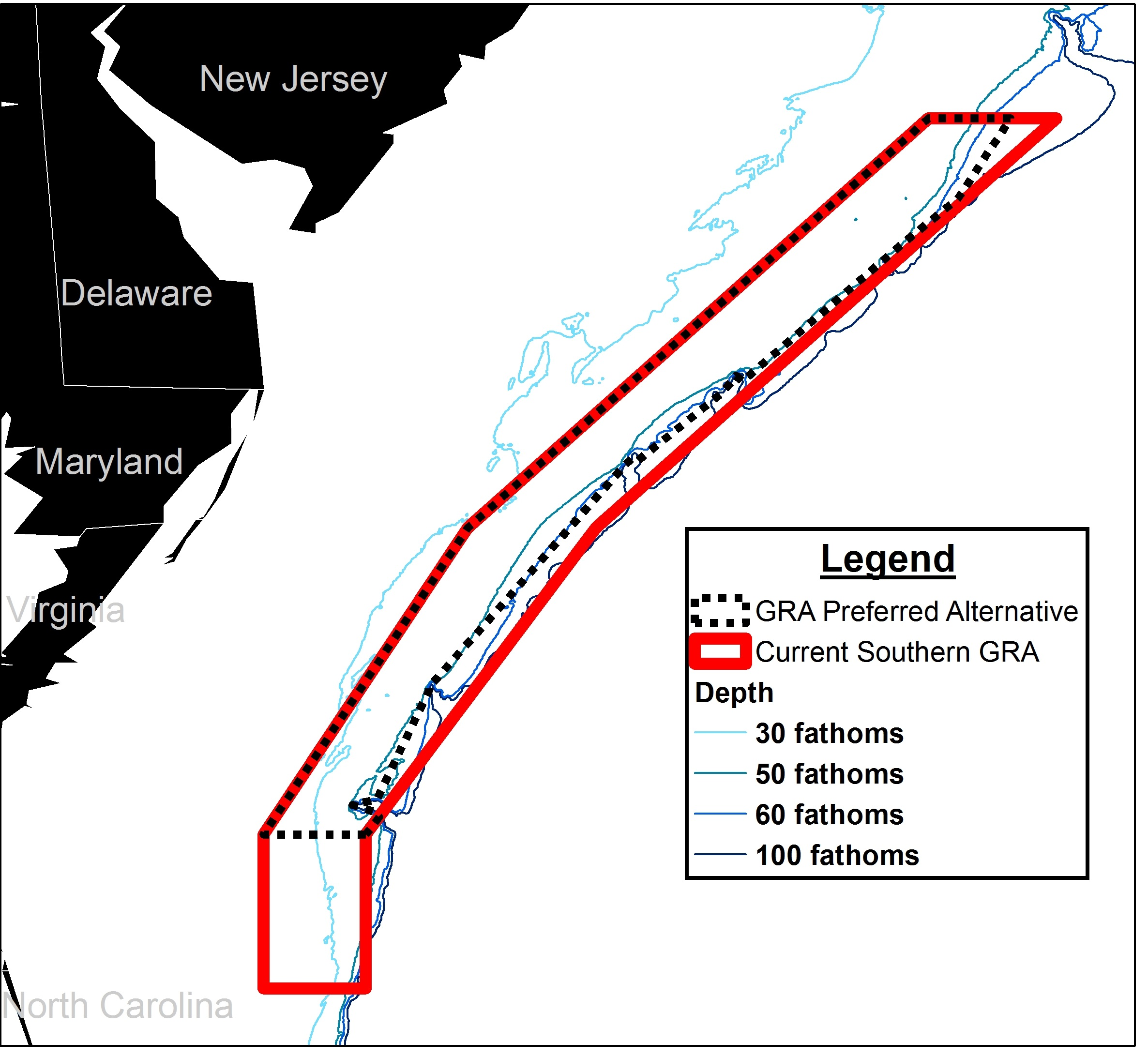 Figure 1. Proposed modification to the Southern Scup GRA boundary (click to expand map).