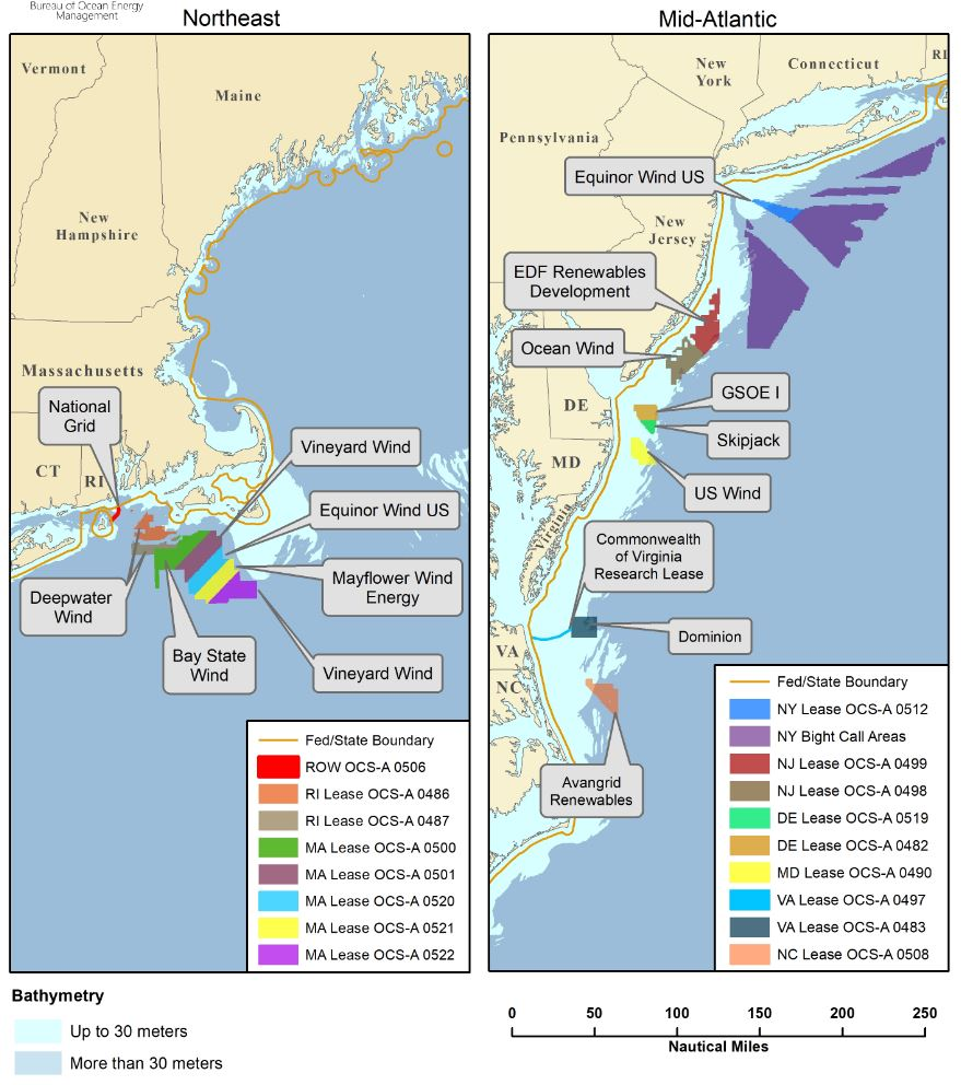Atlantic OCS Renewable Energy Areas as of 3/11/2019.  Click map to enlarge Source:  BOEM