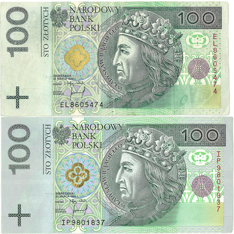 This counterfeit bill can be distinguished from a real bill by the non-rustling paper, lack of security thread, painted-on gold seal, color discrepancies, and smaller size.