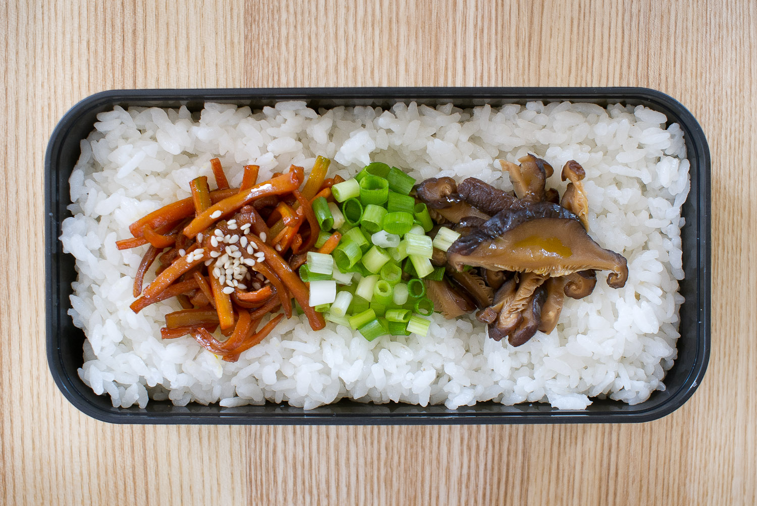 rice with carrots, scallions and shiitake