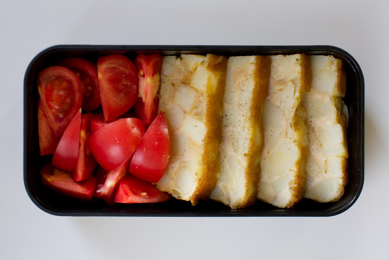 tortilla española and tomatoes