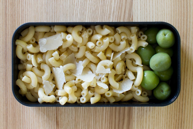 macaroni with pecorino and olives