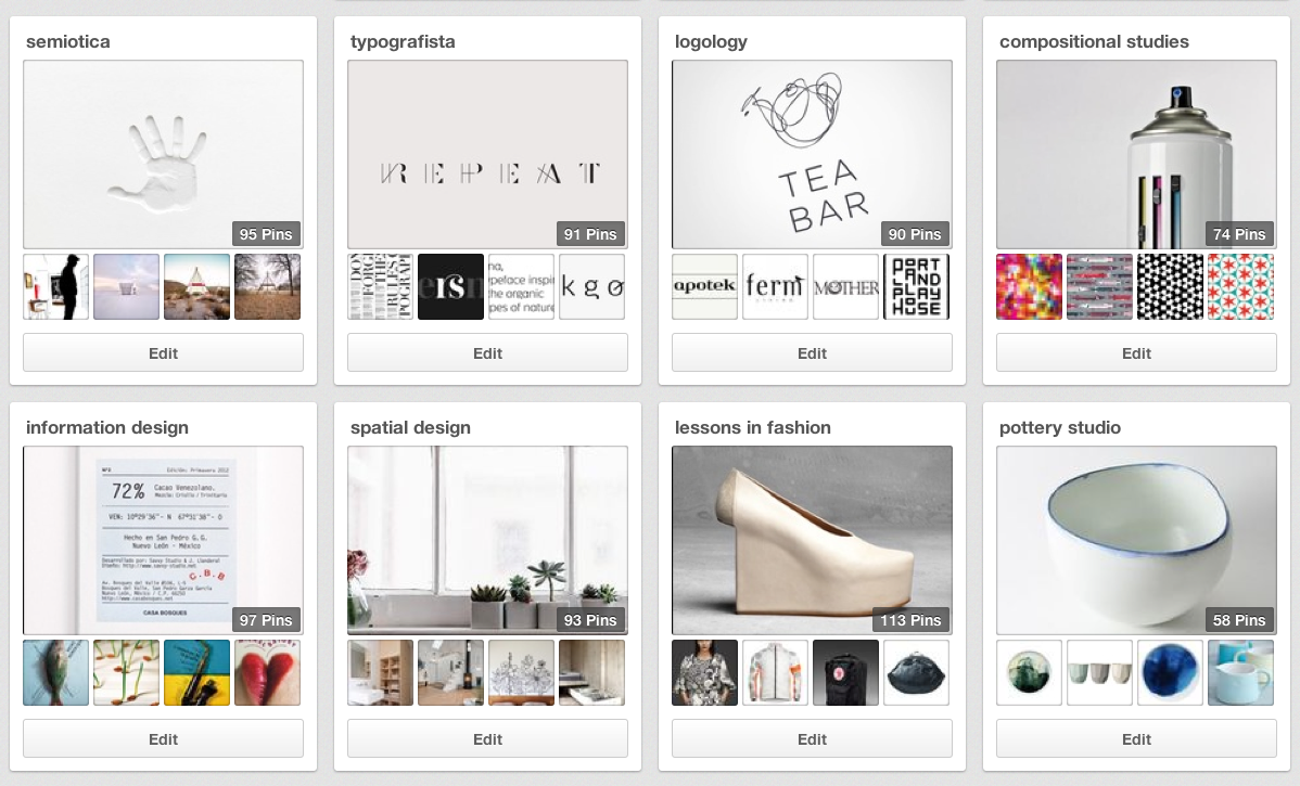 A sampling of my boards as they appear to me when I'm logged in to Pinterest.