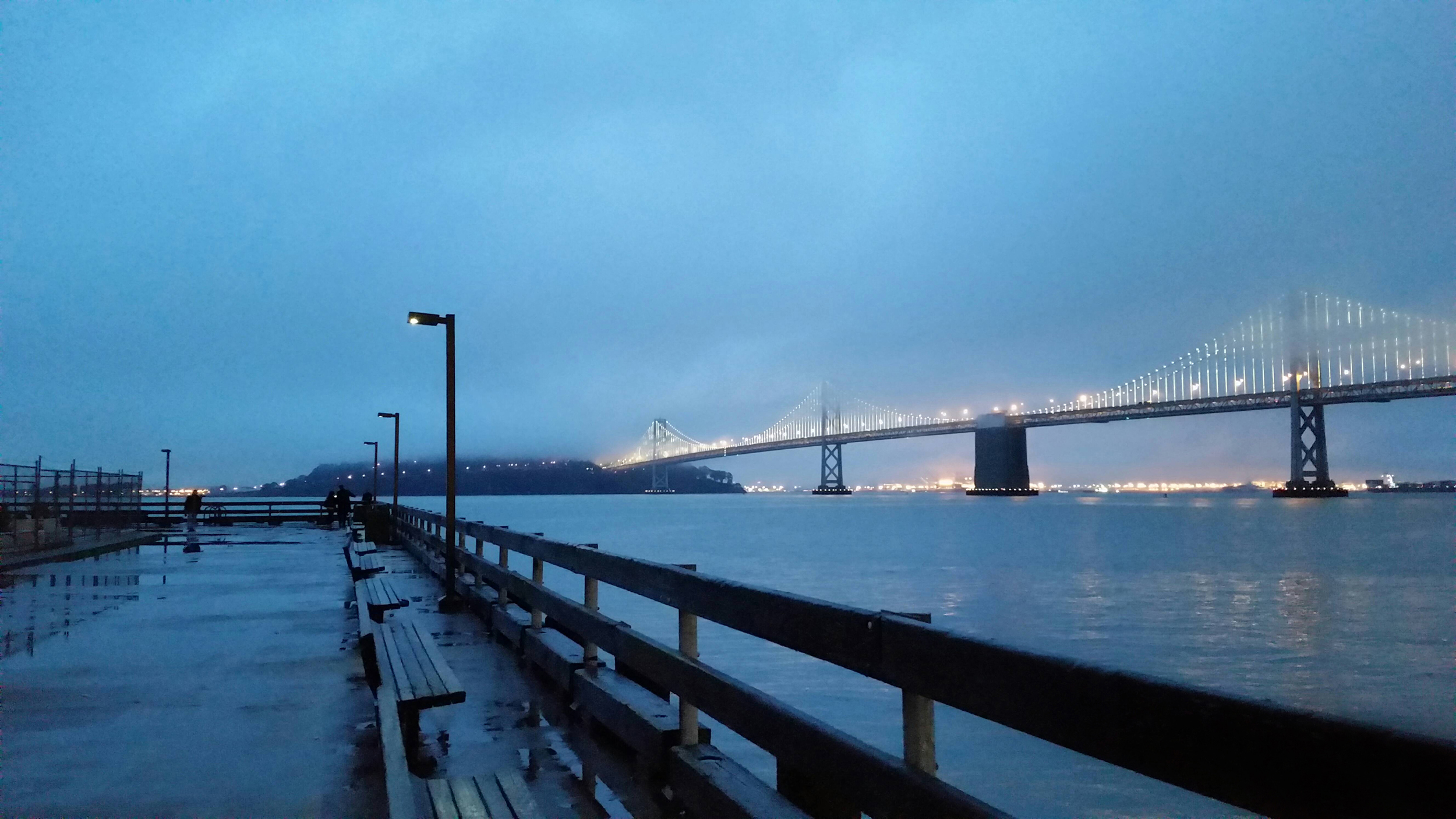 Bay Bridge from Wharf with Fog and Lights
