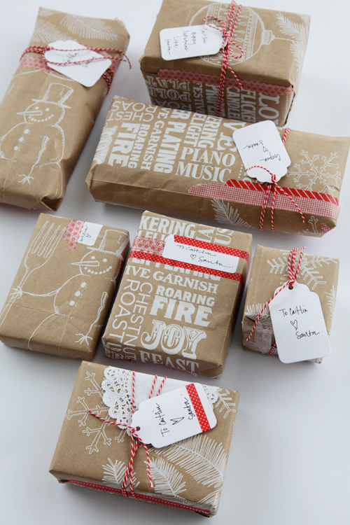 ETHICAL GIFT GUIDE: WRAPPING  Use the festive bags provided by your grocery store for a very recycled Christmas! Via  A Creative Mint  inspired by  Mer Mag .