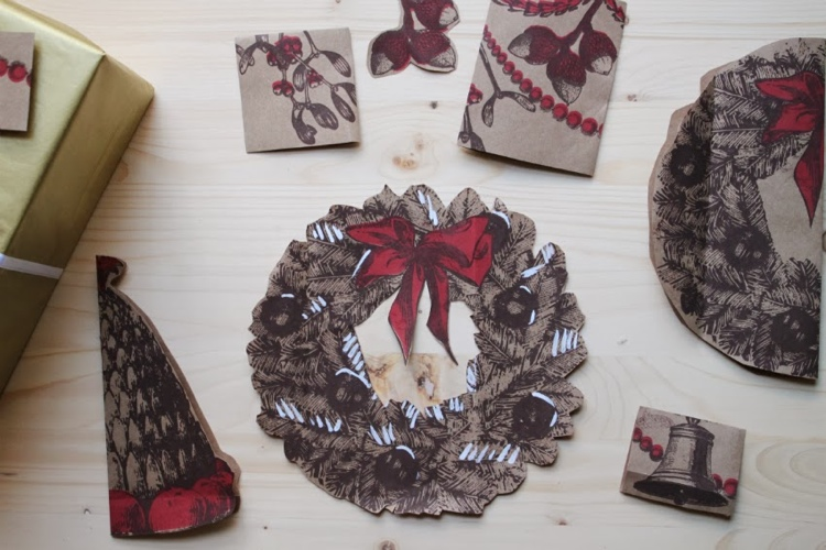 ETHICAL GIFT GUIDE: WRAPPING  Don't just wrap with holiday grocery gags - make gift tags too! Via  corner blog .