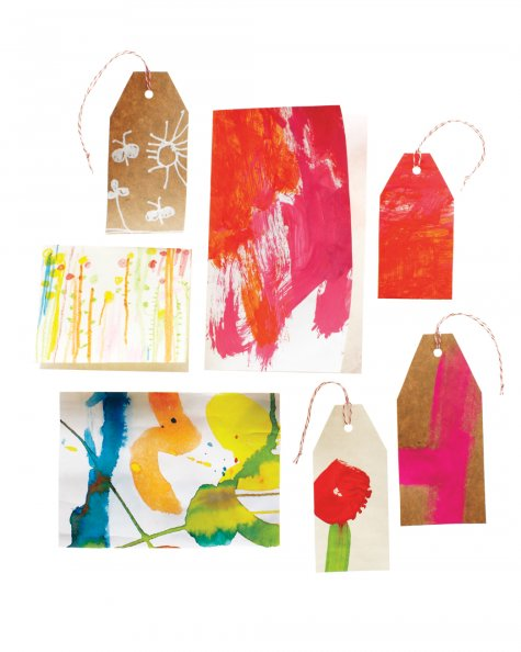ETHICAL GIFT GUIDE: WRAPPING  Repurpose kids' art into wrapping paper and tags via  Martha Stewart .