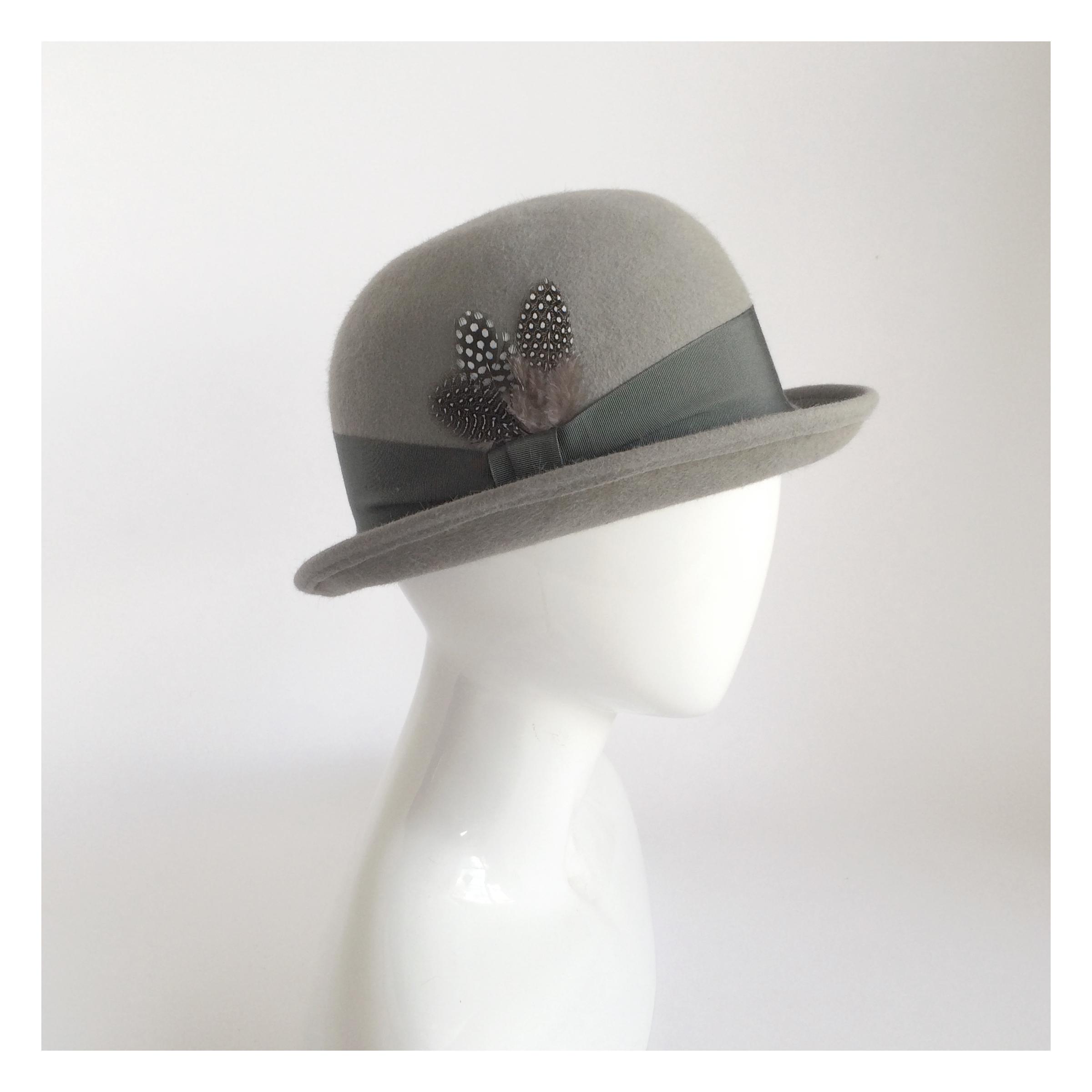 Grey Bowler Derby Hat | Una Hats