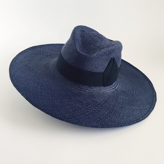 This one looks like it's ready to take off on summer adventures. ✈️☀️ Navy Wide Brim Panama Hat   made by (me) @unahats   Available to try on at @artistsandfleas .  Saturday June20th   647 Mateo Street DTLA  #hatshop   _____________________________________  #PanamaHat #widebrimhat #summerhat #sunhat #beachhat #strawhat #navyblue#LosAngeles #AFinLA #Handmade #madeinla #dtla #sunprotection #spf #summer #summertime #unahats