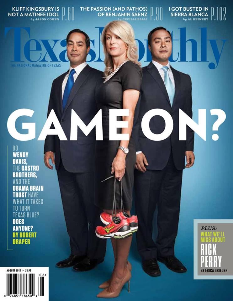 Wendy Davis and San Antonio mayor Julián Castro (left) and his twin brother, Congressman Joaquín Castro