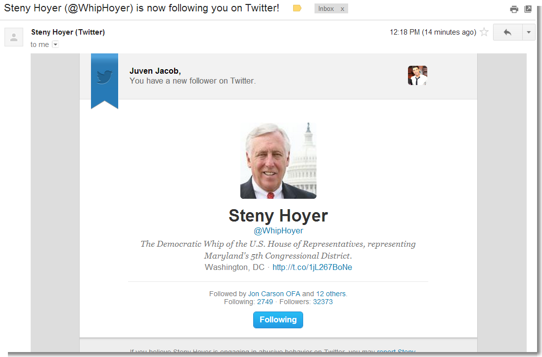 Democratic Whip, Steny Hoyer