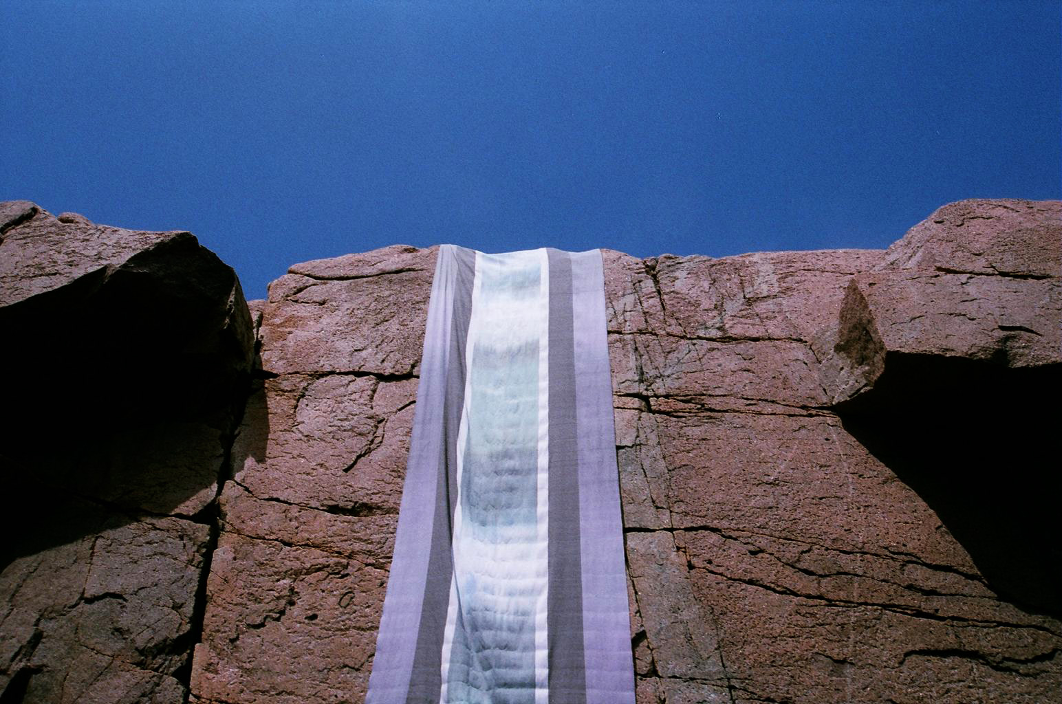Banner-Scape No. 4: Mount Desert, ME . Hand-woven, hand-dyed cloth, 2013.
