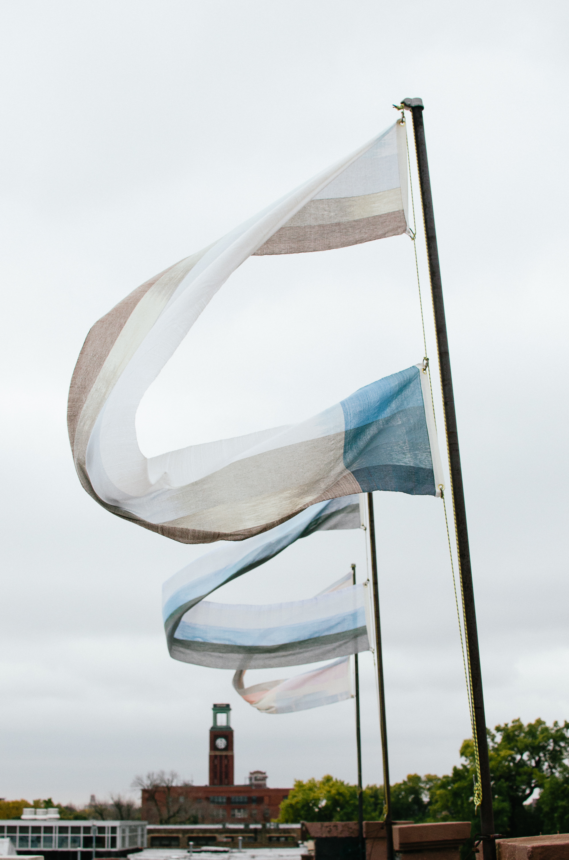 Banner-scape No. 5-8: Acadia, Cadillac, Oberg & Aran. Hand-woven, hand-dyed cloth, 2013.