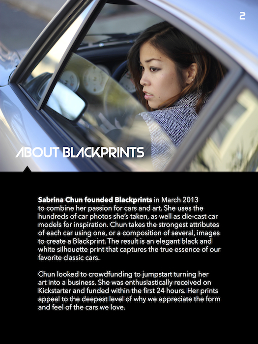 Blackprints    Minimalist automobile prints. Designed and wrote content for media kit.