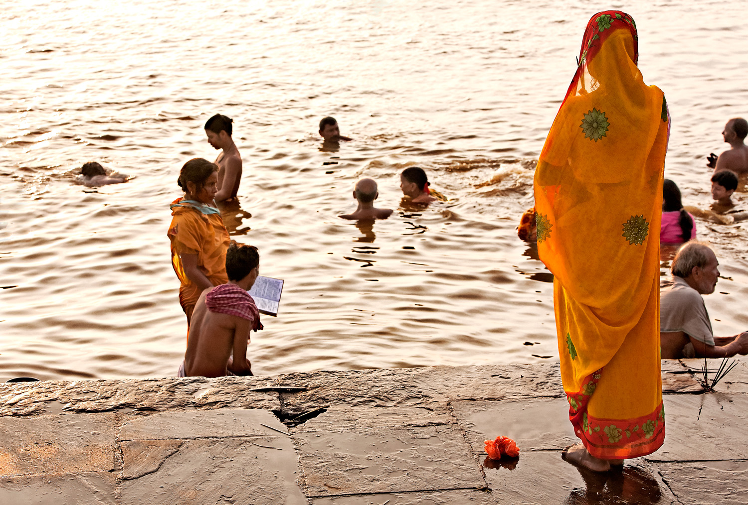 Morning ablutions, Assi ghat, Varanasi, India