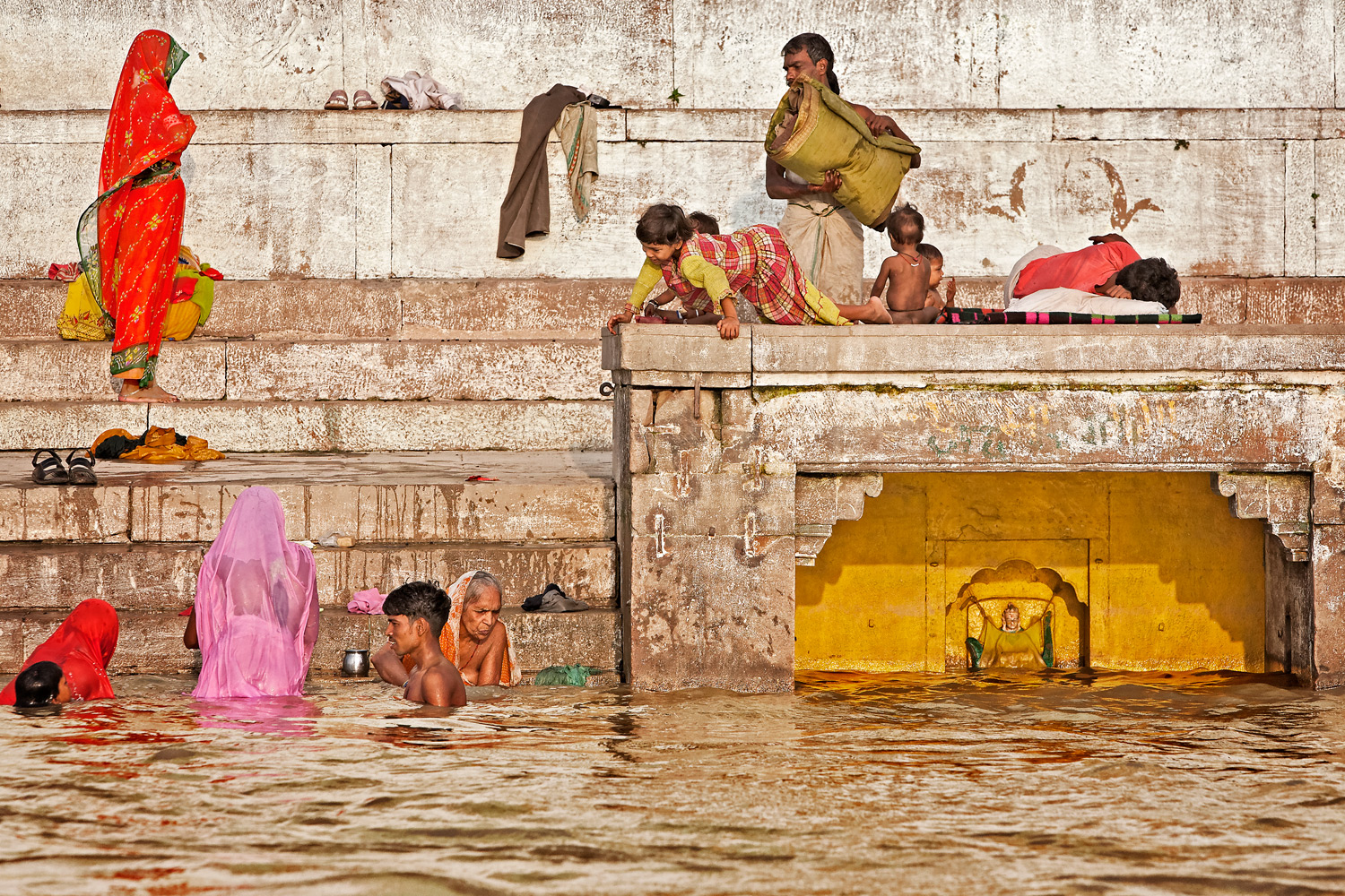 Morning ablutions on the ghats, Varanasi, India