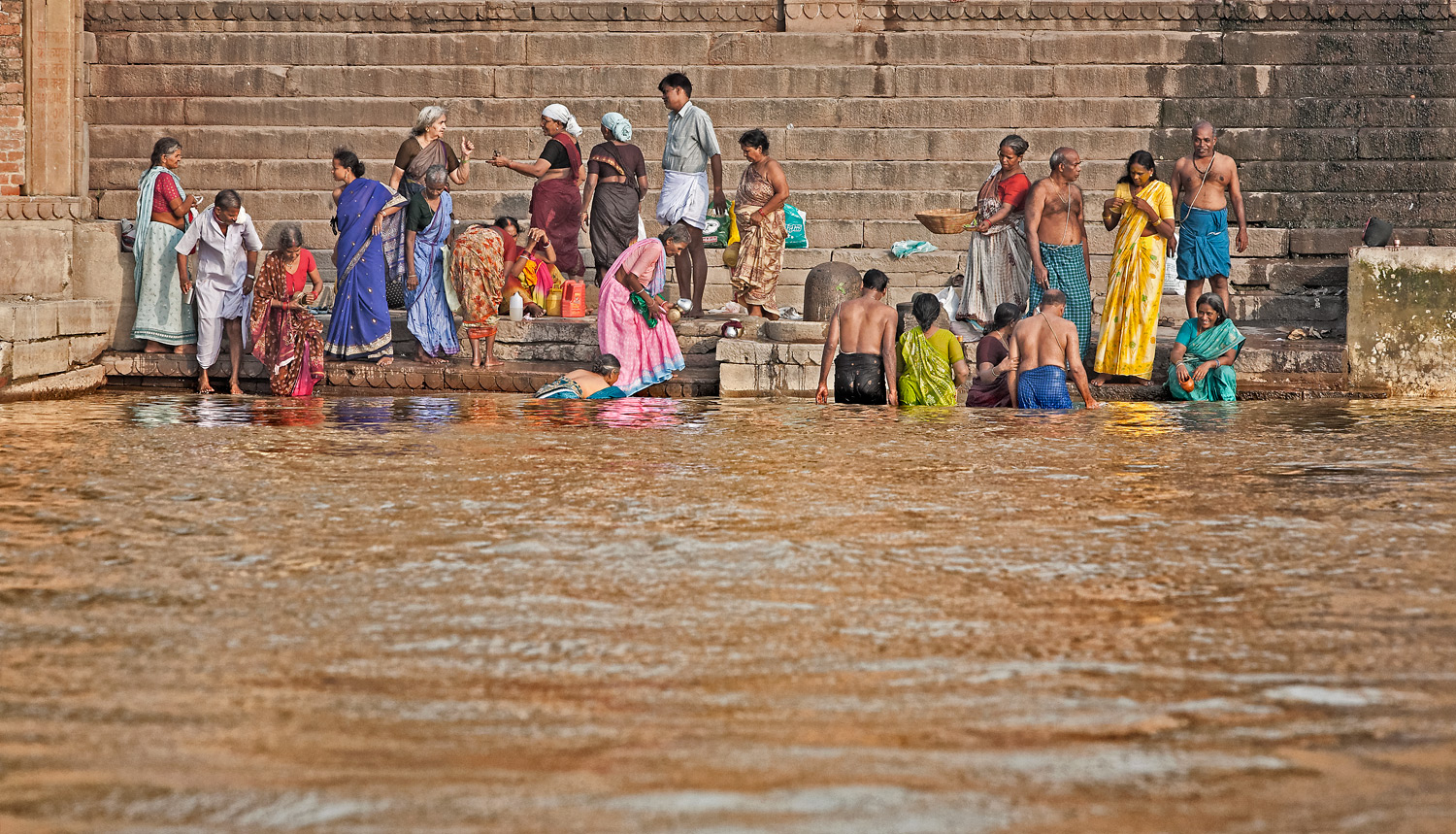 Family together on the ghats, Varanasi, India