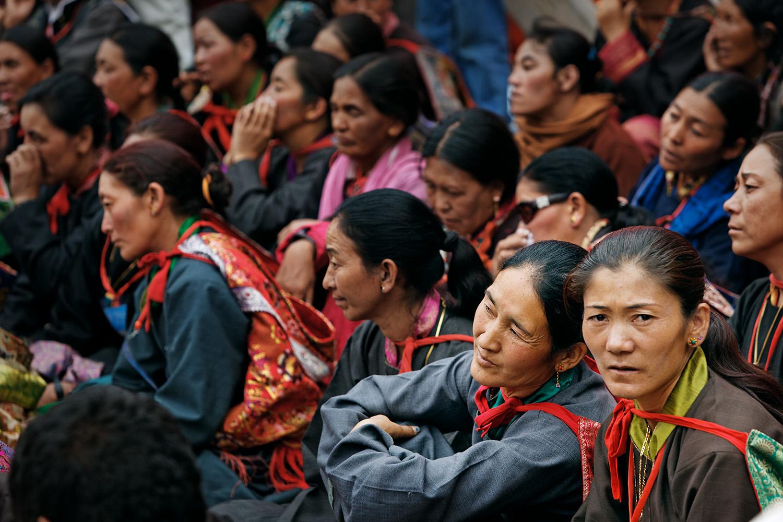 Women listening to teaching, Hemis Monastery