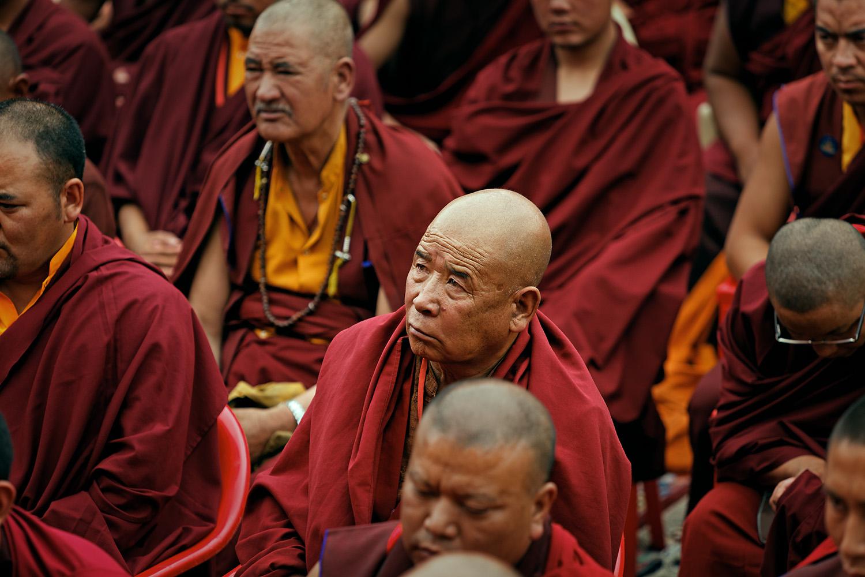 Monks listening to teaching, Hemis Monastery