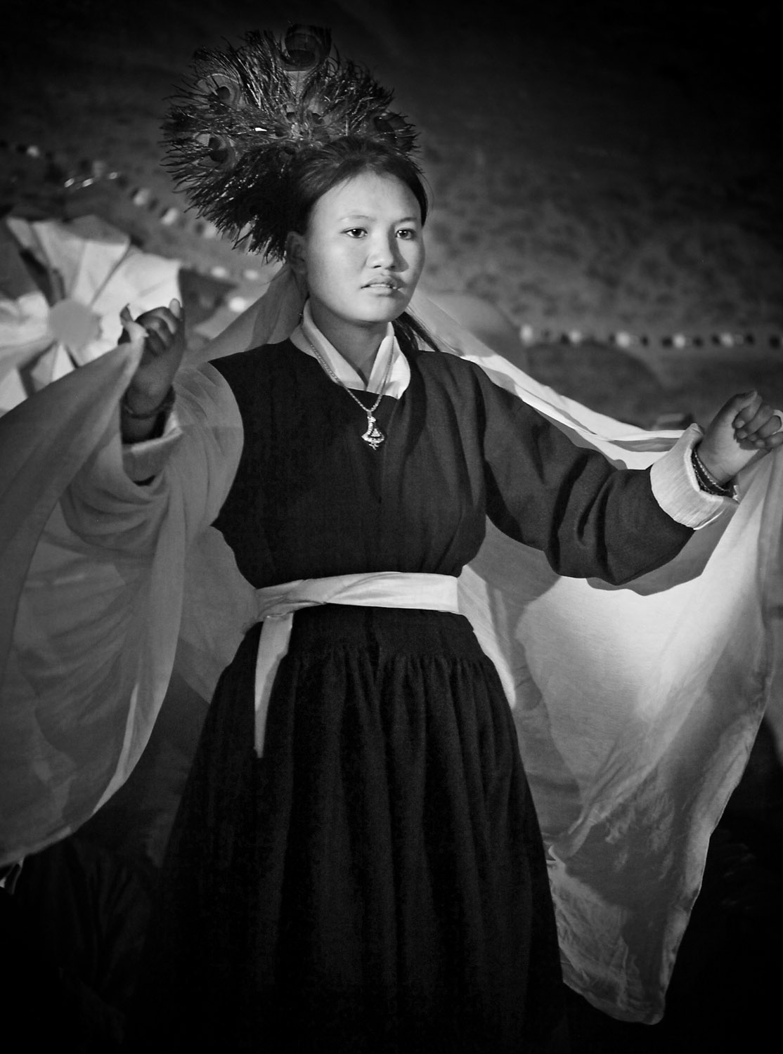 Girl dancing, Hemis Gompa, Ladakh, India