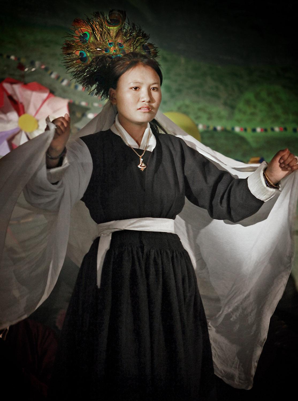 Pupil of Druk White Lotus school dancing, Shey, Ladakh