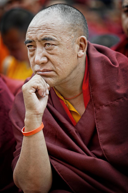 Monk listening to teaching, Hemis Monastery