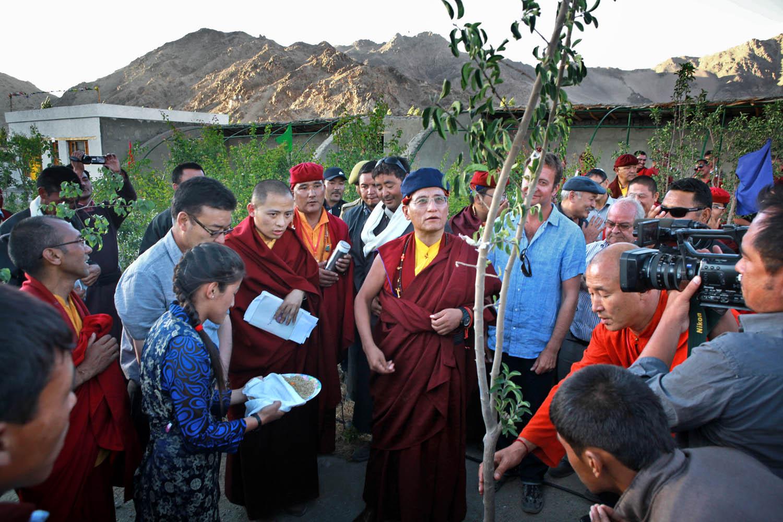 H.H. planting tree at Druk White Lotus school, Shey, Ladakh