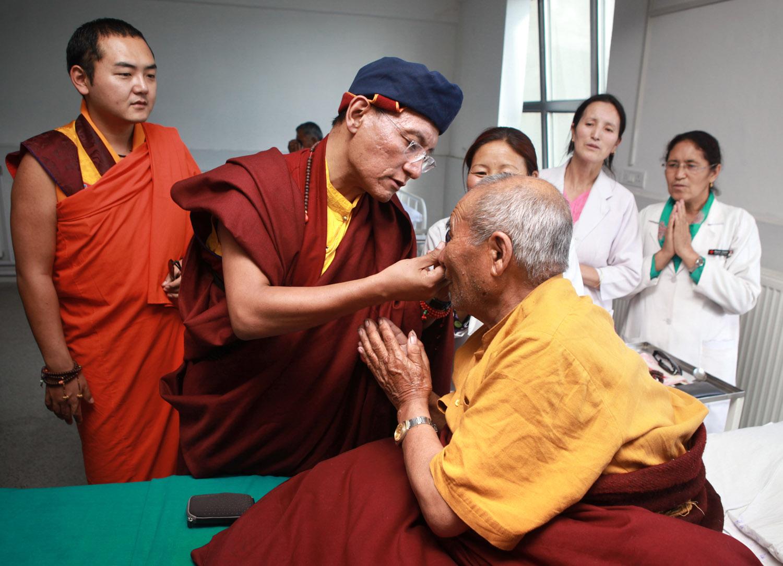 H.H. meeting patients at Leh Hospital, Ladakh